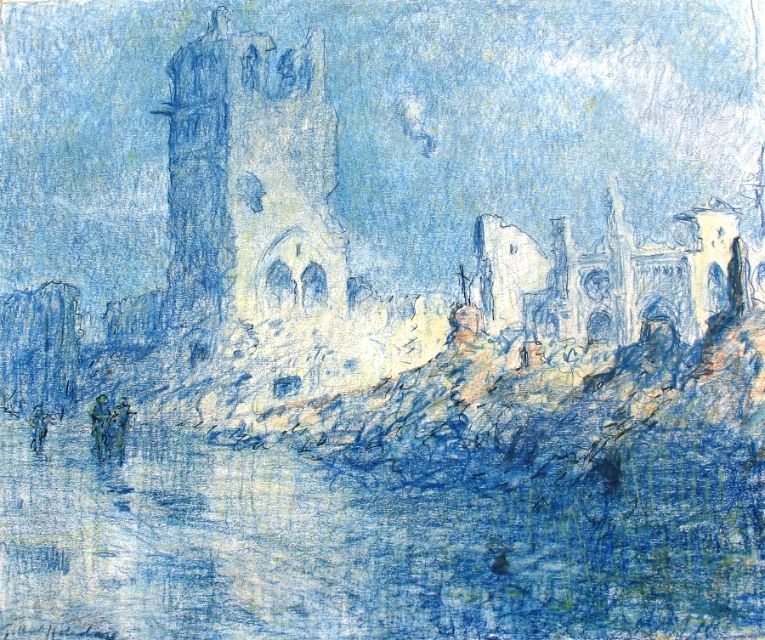 Ypres, City of Death. A watercolour by Captain Gilbert Holiday RFA showing the remains of the tower of the ruined Cloth Hall and the ruins of St Martin's, a former cathedral, behind. Both were rebuilt after the war (Author's collection, Photo: David Cohen)