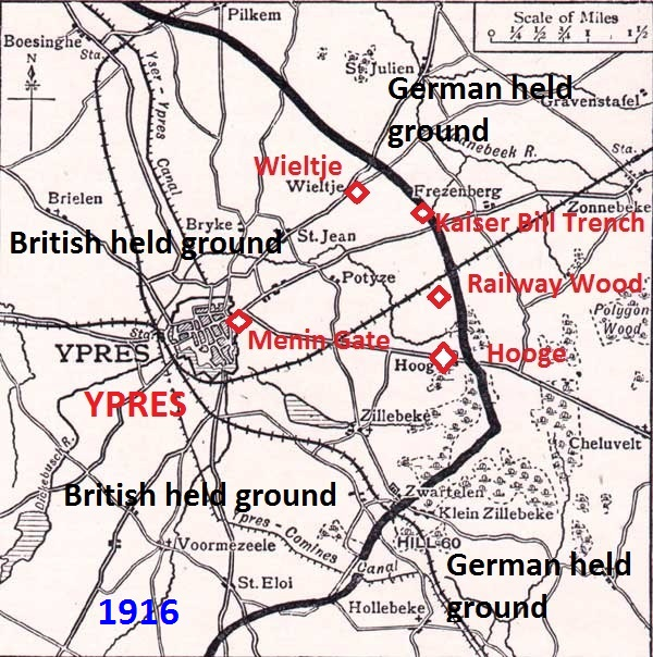 Outline map of the Ypres Salient in 1916 showing approximate position of the line routinely held by the 55th (West Lancashire) Division 1916/17, running north from Hooge to Wieltje. The length of line held reduced if a brigade was training in a rear area. Annotated by author, original map courtesy Long Long Trail