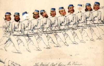 Victorian Rifle  Volunteers - 'The March Past Before the Review'