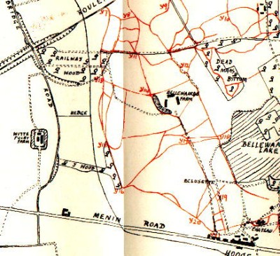 Map of the area of Hooge/Bellewaarde Ridge near Ypres (Ieper) in 1915